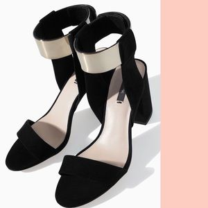 Black Zara block heel with silver ankle strap